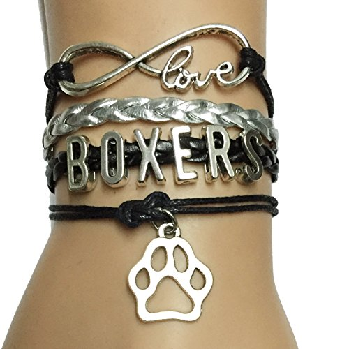 Black with Silver Leather Handmade Infinity Love Boxers Dog Breed Paw Charm Bracelet
