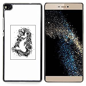 Eason Shop / Premium SLIM PC / Aliminium Casa Carcasa Funda Case Bandera Cover - Natación Negro Blanco Dibujo Pescado - For Huawei Ascend P8 (Not for P8 Lite)