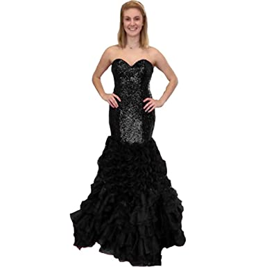 Chady Sparkly Sequined Black Mermaid Prom Dresses Long Sweetheart Ruffles Plus Size Formal Evening Gowns Party