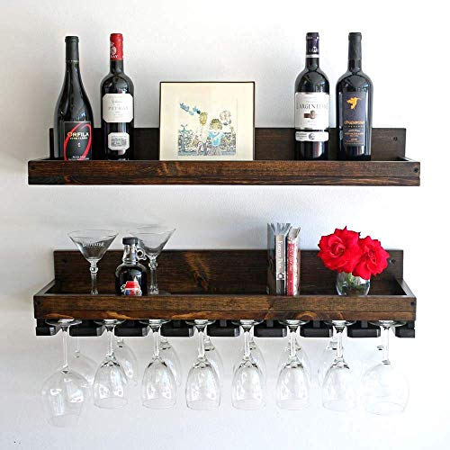 Rustic, Custom Wine Glass Rack With Beveled Hanging Stemware Holders & Wine Shelf Set (Wall ()
