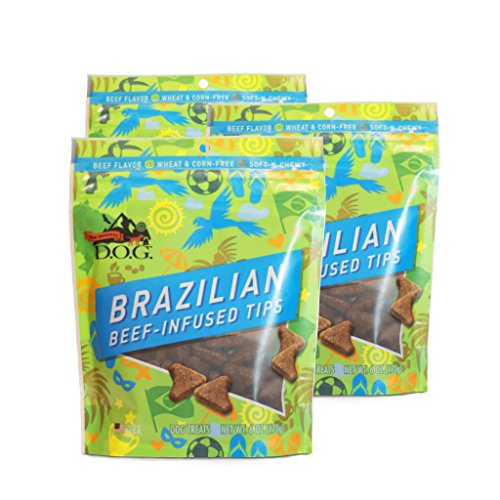 The Original DOG Brazilian Beef-Infused Tips Pet Snacks – Wheat-Free Natural Soft and Chewy Dog Treats with Beef, Barley and Oats 3 – 6 Ounce Resealable Bags