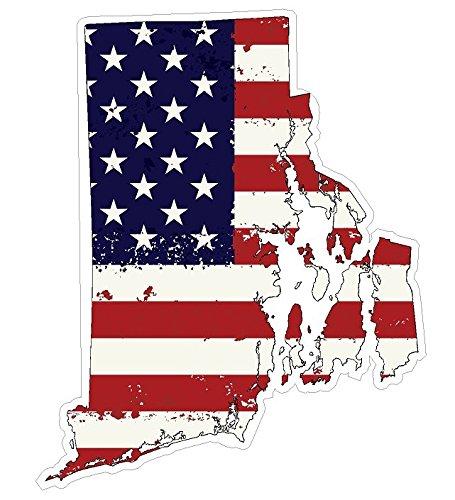 Rhode Island State (J40) USA Flag Distressed Vinyl Decal Sticker Car/Truck Laptop/Netbook Window