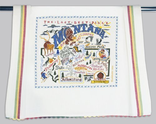 Montana Dish Towel (Catstudio Hand-Embroidered Dish Towel - Montana)