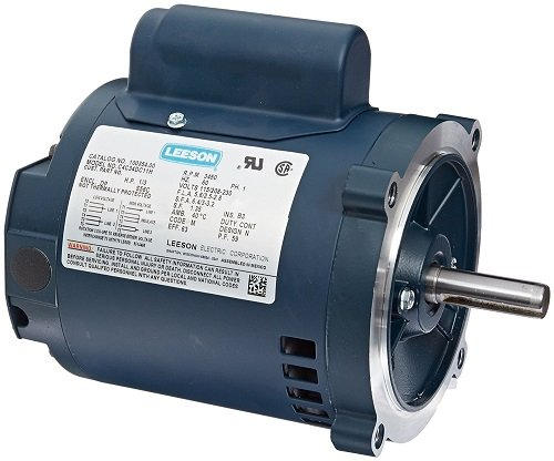 (Leeson E110220.00 General Purpose Drip-Proof C Face Motor, 1 Phase, 56C Frame, Round Mounting, 1HP, 1800 RPM, 115/230V Voltage, 60Hz Fequency)