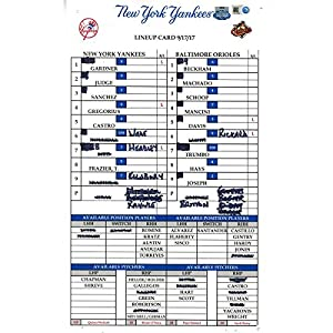 Baltimore at Yankees 9 17 2017 Game Used Lineup Card (JB713676)