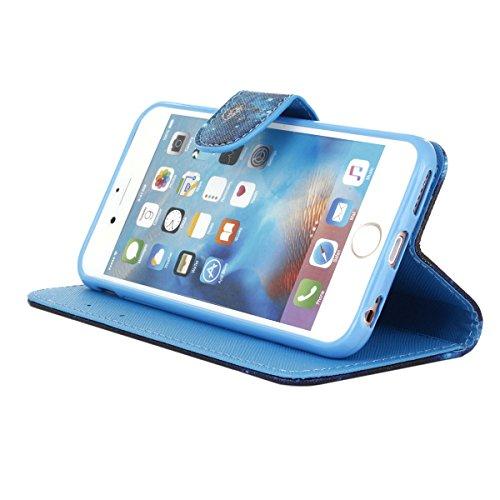 iPhone 6 / 6S 4.7 inch Coque , Apple iPhone 6 / 6S 4.7 inch Coque Lifetrut® [ Bleu dreamcatcher ] [Porte] [Card Slot] Prime PU cuir flip stand Wallet Case Cover Avec lanière Coque Etui pour Apple iPho