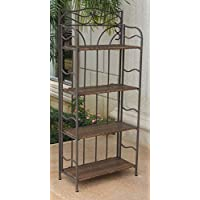 Wicker Resin 4-Tier Baker Rack in Antique Brown