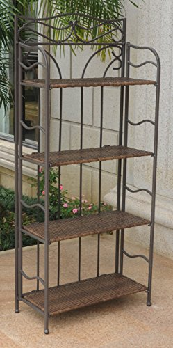 International Caravan 608226 Wicker Resin 4-Tier Baker Rack Antique Brown