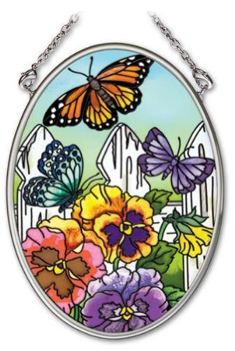 Amia 41701 4-1/4-Inch Hand-Painted Glass Oval Sun Catcher, Small, Pansy and Butterfly Design ()