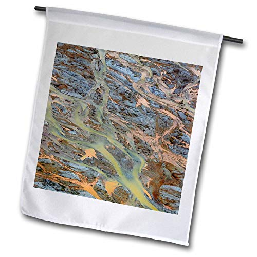 Alaska Aerial Photo - 3dRose Danita Delimont - Abstracts - USA, Alaska, Brooks Range, ANWR. Aerial of Braided Ivishak River. - 18 x 27 inch Garden Flag (fl_314461_2)