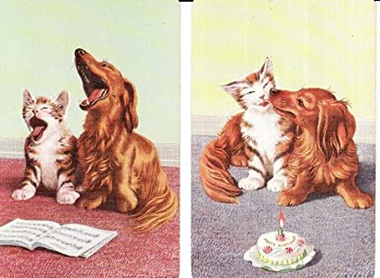 2 Vintage Swap Playing Cards SINGING DOG CAT BIRTHDAY CAKE