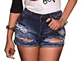 Olyha Womens Distressed High Waisted Denim Shorts Destroyed Ripped Folded Hem Jean Shorts Stretchy with Pockets(L)