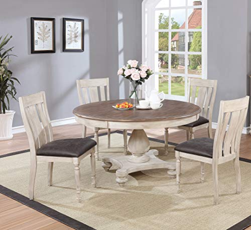 Chairs Table Round Oak (Arch Weathered Oak Dining Set: Round Table, Four Chairs)