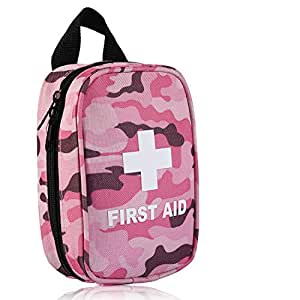First Aid Kit for Hiking, Backpacking, Camping, Travel, Car & Cycling. With Waterproof Laminate Bags You Protect Your Supplies! Be Prepared For All Outdoor Adventures or at Home & Work (Camouflage pink)