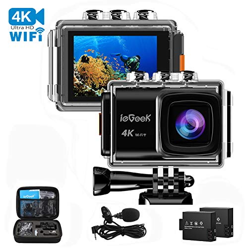 Action Camera, ieGeek 4K 20MP WiFi Waterproof Sports Cam Ultra HD Underwater Camera DV Camcorder EIS Image Stabilizer 170 Degree Wide-Angle with 2 Battery/External Microphone/Carry Case/Accessory Kit by ieGeek