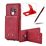 Strap Shockproof Case for Samsung Galaxy S9,Herzzer Fashion Classic Slim Fit Red Wallet Portable Flip Leather Cover with Business Card Holder