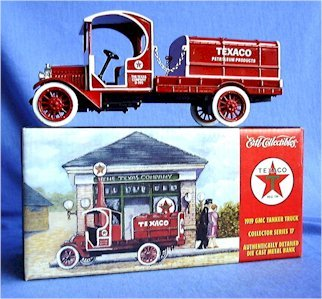 1/28 Scale Die Cast Metal 1919 Texaco GMC Tanker Truck Bank (Tanker Bank)