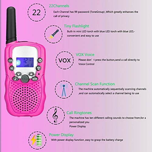 Kids Walkie Talkies Long Range Two Way Radio 3KM 22 Channels Battery Operated Handset with Indicator and Belt Clip for Children Outdoor Camping Hiking 2 PCS(Pink)