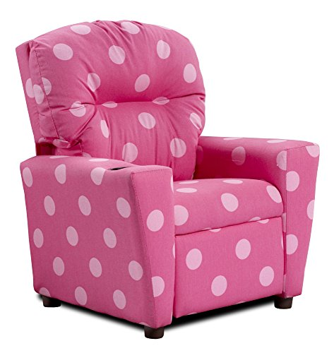 Polka Dotted Kids Recliner in Pink 446467 by Kidz World
