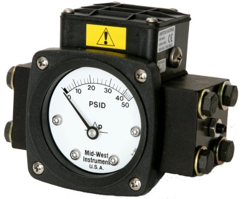 Mid-West 140-AA-00-O(AA)-30P Differential Pressure Gauge with Aluminum Body and 316 Stainless Steel Internals, 1 Reed Switch in NEMA 4X/IP66 Enclosure, Diaphragm Type, 3/2/3% Full Scale Accuracy, 2-1/2