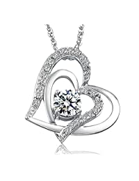 Colorstation Women 925 Silver Plated Love Double Heart Shaped White Cubic Zirconia Pendant Necklace