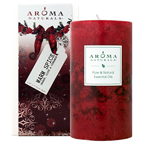 ay Essential Oil Scented Pillar Candle, Orange, Clove and Cinnamon, Warm Spice, 2.75 inch x 5 inch ()