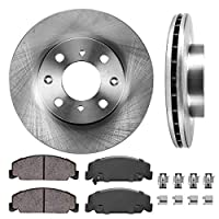 CRK13170 FRONT 240 mm Premium OE 4 Lug [2] Brake Disc Rotors + [4] Ceramic Brake Pads + Clips