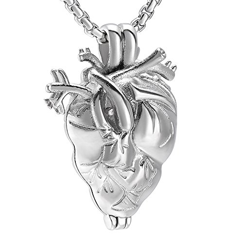 1 Light Eternity Pendant - Eternity Memory Anatomical Heart Locket Necklace For Ashes - Inside Golden Cylinder Urn