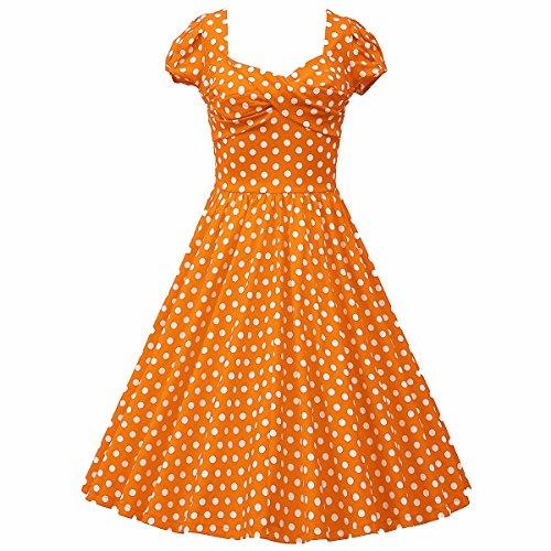 Samtree Womens 1950s Style Short Sleeve Vintage Floral Polka Dot Swing Dress