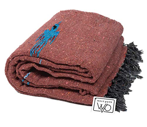 Open Road Goods Red Earth/Burnt Orange Yoga Blanket - Thick Mexican Thunderbird Blanket - Handmade and Made for Yoga!