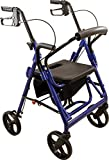Roscoe Medical DLXTRL-BL Deluxe Transport Rollator with Padded Seat, Blue
