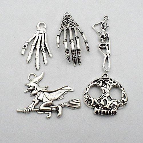 testa di zucca YoudiylaUK WM001 Halloween per collane pipistrello gioielli fai da te strega scheletro bracciali Ciondoli misti placcati in argento gatto WM001