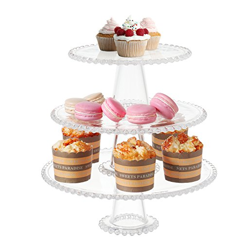 3-Tier Vintage Clear Glass Hobnob Design Dessert Display Stand & Cupcake Serving Platter Tray