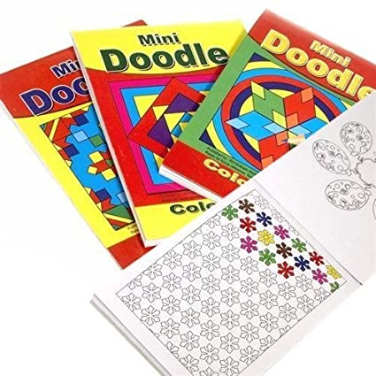 12 Mini A6 Doodle Activity Books - Pattern Colouring - Party Bag Fillers WF Graham