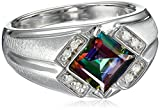Men's Sterling Silver Mystic Fire Topaz and Diamond Gents Ring (0.1cttw), Size 10.5