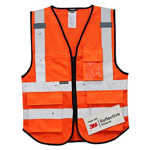 Salzmann 3M Multi Pocket Safety Vest, Highly Breathable Mesh Vest Meets ANSI/ISEA107 -