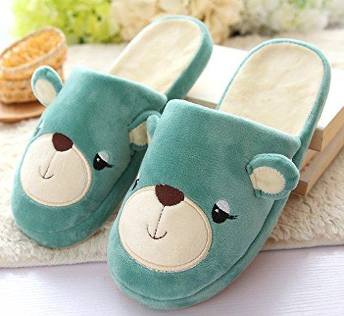 2015 Nuovo Blubi Mens Casual Modello Orso Accogliente Pantofole Casa Pantofole Pantofole (8.5, Verde)