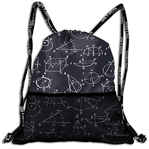 Awesome Math Geometry Black Drawstring Bag School Swiming Rucksack Large Capacity Beam Bag, Home Travel Storage Use Gift For Men & Women, Girls Boys -