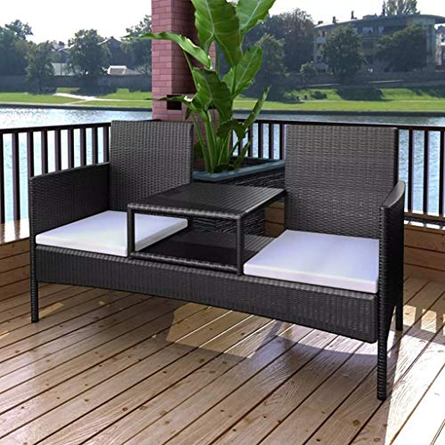 Outdoor Conversation Set with Tea Table, Patio Garden Bench Poly Rattan with Cushions 2 Seaters Brown/Black