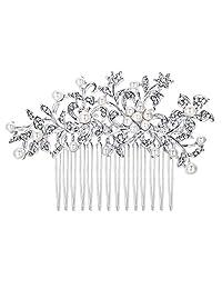 Ever Faith Wedding Flower Ivory Color Cream Simulated Pearl Hair Comb Clear Austrian Crystal Silver-Tone N03799-1
