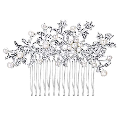 EVER FAITH Wedding Flower Ivory Color Cream Simulated Pearl Hair Comb Clear Austrian Crystal Silver-Tone