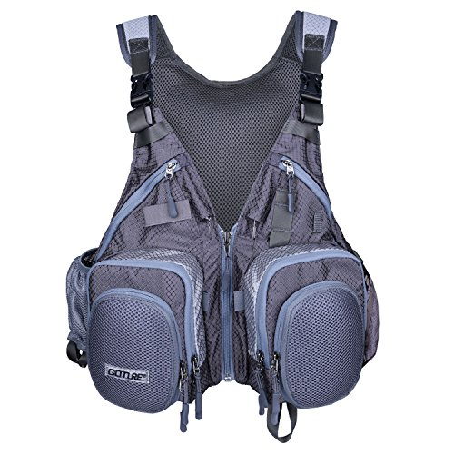 Goture Fly Fishing Vest – Multifunction Adjustable Size Fly Vest Pack Tackle Gear with Breathable Mesh and Multi Pockets for Trout Bass Fishing