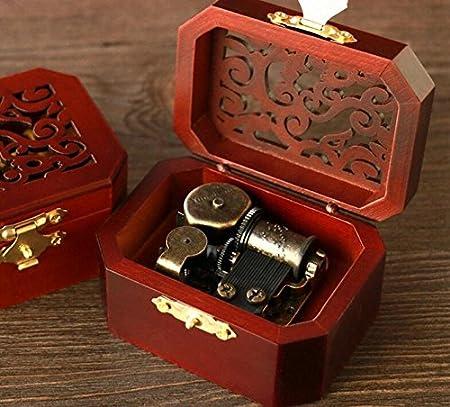 Regalo Creativo Caja Musical Caja de música de Cuerda Hueca Octagonal Octogonal Retro-Rojo + Cobre: Amazon.es: Hogar