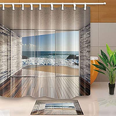 GoHeBe Cortina ducha poliéster resistente al moho para pared ladrillo con puerta madera con vista la