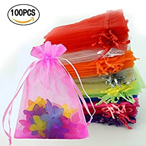 Chasgo 100PCS Drawstring Organza Bags 13x18 Tiny Wedding Gift Jewelry Pouch Bags