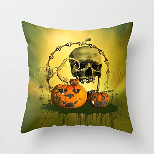 (Happy Halloween Funny Punpkins and Skull Pattern Throw Pillow Case Cushion Cover Decorative Cotton Blend Linen Burlap Pillowcase for Home Office Sofa Square 18