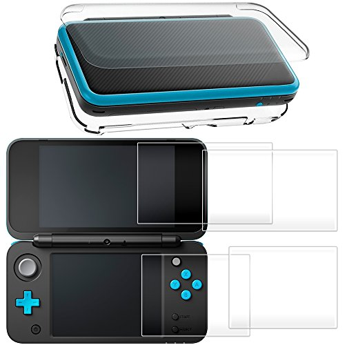 ntendo 2DS XL with 2 Packs Screen Protector, AFUNTA Anti-Scratch Crystal Clear Case, with 4 Pcs Tempered Glass Protective Films for Top and Bottom Screen (New Hard Protector Case)