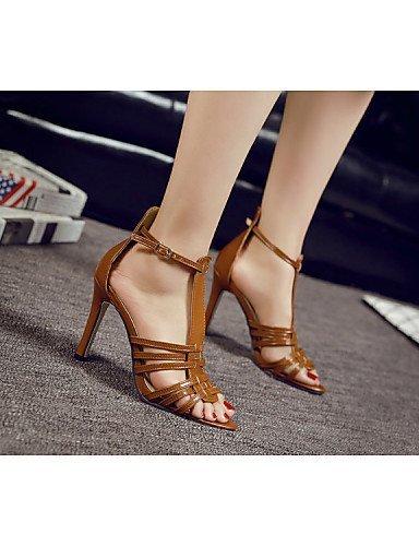 ShangYi Women's Shoes Leather Stiletto / Slingback / Gladiator / Comfort / Novelty / Ankle Strap / Round Toe /...