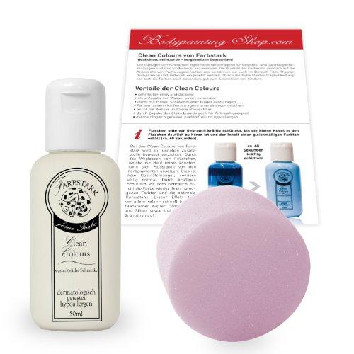 Farbstark Bodypainting Farben - hautfreundliche Körperfarbe in Profi Qualität (auch für Airbrush geeignet), Set: 50 ml Farbe Weiß + Schminkschwamm