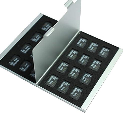 Deinbe Aleación de Aluminio Tarjetas Micro SD TF Estuche de Almacenamiento Tarjeta de Memoria Titular Delgado Capas Dobles Plata 24TF: Amazon.es: Hogar